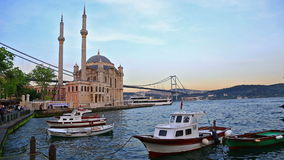 Pier near Ortakoy Mosque in Istanbul stock footage