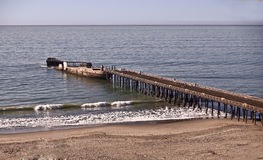Pier at New Brighton State Beach. This is a picture of the pier and sunken ship at New Brighton State Beach on the Monterey Bay near Santa Cruz stock photos