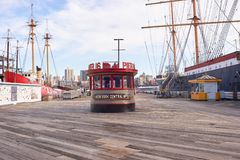 Pier 16. NEW YORK - MARCH 17, 2016: Pier 16 at daytime. Pier 16 is located east of South Street and FDR Drive in Lower Manhattan, New York City Royalty Free Stock Image