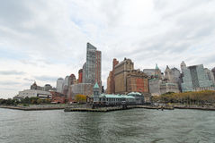 Pier A, New York. View of Pier A prior to renovation in downtown Manhattan on a cloudy day stock photos