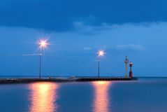 Pier at night Stock Photo