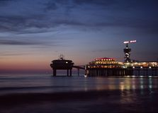 Pier at night. Pier in Schevening at night royalty free stock images