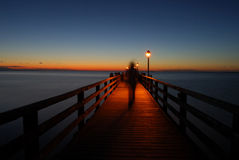 Pier at night Royalty Free Stock Photos