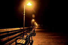 Pier at night Royalty Free Stock Photos