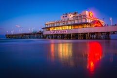 The pier at night in Daytona Beach, Florida. Royalty Free Stock Photos