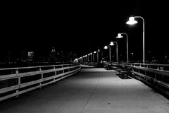 Pier 34 at night, in Hudson River Park, Manhattan, New York. Stock Image