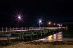 Pier and night lights Royalty Free Stock Photo