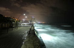 Pier by night tel aviv Stock Image