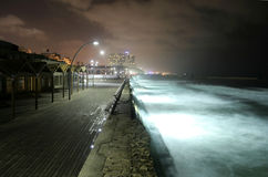 Pier by night tel aviv Stock Photo