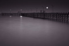 Full moon pier Stock Photography