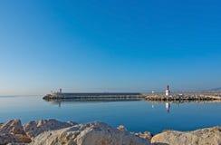 Pier and ocean horizon Stock Photos