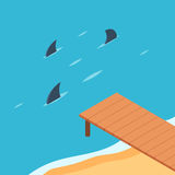 Pier by the ocean with shark. S. Shark fins from the sea. The concept of danger and risk. Business metaphor. Vector color illustration isometric flat style for Royalty Free Stock Photography