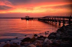 Pier in the ocean Stock Photo