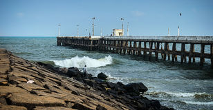 Pier at the oceanside in Pondicherry. Tamil Nadu, India Stock Photo