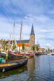 Pier with old boats in Harlingen Royalty Free Stock Photography