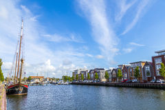 Pier with old boats in Harlingen Royalty Free Stock Photos