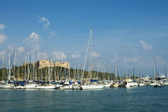 Pier and old castle of Antibes, France Royalty Free Stock Photography