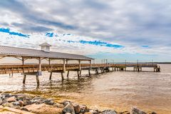 Free Pier On Cloudy Day Stock Image - 136964461