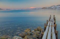Pier op de fjord Royalty-vrije Stock Foto's