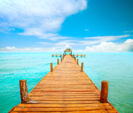 Pier op Isla Mujeres royalty-vrije stock foto