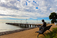 Pier in Orlowo, Polen. Stockbild