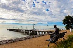 Pier in Orlowo, Polen. Stockbild