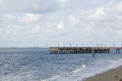 Pier Over Choppy Sea Stock Photo