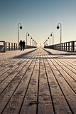 Pier over the sea. Pier in the Baltic - Gdynia stock photography