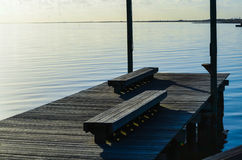 Pier Overlooking the Bay. In Palacios, Texas Stock Photo