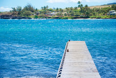 Pier in Pacific Ocean in Hawaii Stock Photography