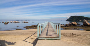 Pier at Paqueta, a tropical island, brazil. Paqueta is a tropical very calm island located at Guanabara Bay, and belonging to the city of Rio de Janeiro, Brazil Royalty Free Stock Photography