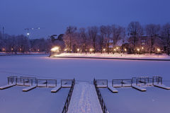 Pier in a park Yunost, Kaliningrad, Russia Stock Photo