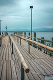 Pier for passenger boats at Chiemsee lake Stock Images