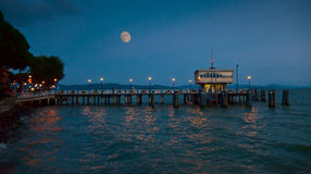 Pier at Passignano, Umbria in moonlight Royalty Free Stock Photography