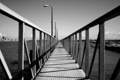 Pier Perspective. Metal Pier, Fleetwood Marina, UK stock photography