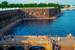 The pier of the Peter and Paul fortress in the evening at sunset. St. Petersburg, Russia Royalty Free Stock Image
