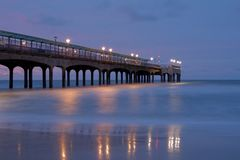 Pier photo during blue hour Royalty Free Stock Photography
