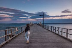 Pier with picturesque view in Australia royalty free stock image