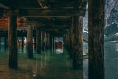 Pier. Under Braise Lake, Trentino, Italy Stock Images