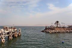 Pier (pier) on the waterfront Tiberias Stock Image