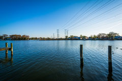 Pier pilings at Merritt Point Park, in Dundalk, Maryland. stock photo