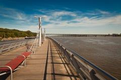 The pier in Plock on the vistula river Stock Photos