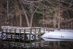 Pier on a pond in state park in middle of winter in WI Stock Photography