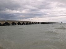 Pier of Port of Progreso in Yucatan with hurrican approaching Stock Image
