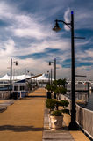 Pier on the Potomac River at National Harbor, Maryland. Stock Photo