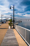 Pier on the Potomac River at National Harbor, Maryland. Royalty Free Stock Image