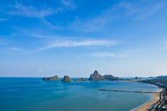 Pier in Prajaub bay, Prajaub Kirikhan, Thailand Royalty Free Stock Image