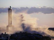 Big wave crashing on Lake Michgian pier Stock Images