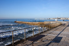 Pier and Promenade by the Atlantic Ocean in Cascais Royalty Free Stock Photo