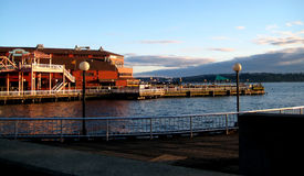 Pier at Puget Sound in Seattle v2. Was captured along the Seattle waterfront downtown Stock Images